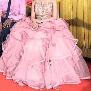Wedding dress prom party long dress chiffon pink